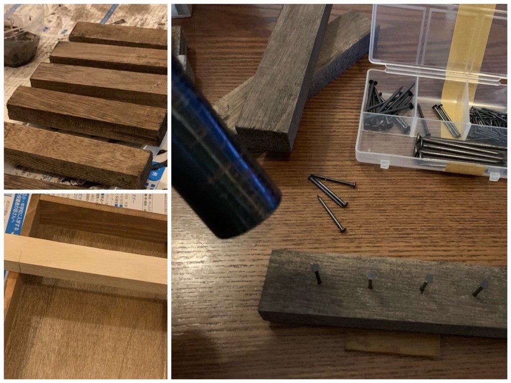 <STEP.2>材料カット~ニス塗り~掛け釘付け